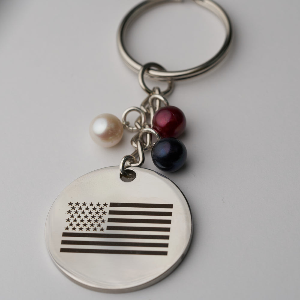 American Flag Engraved Keychain