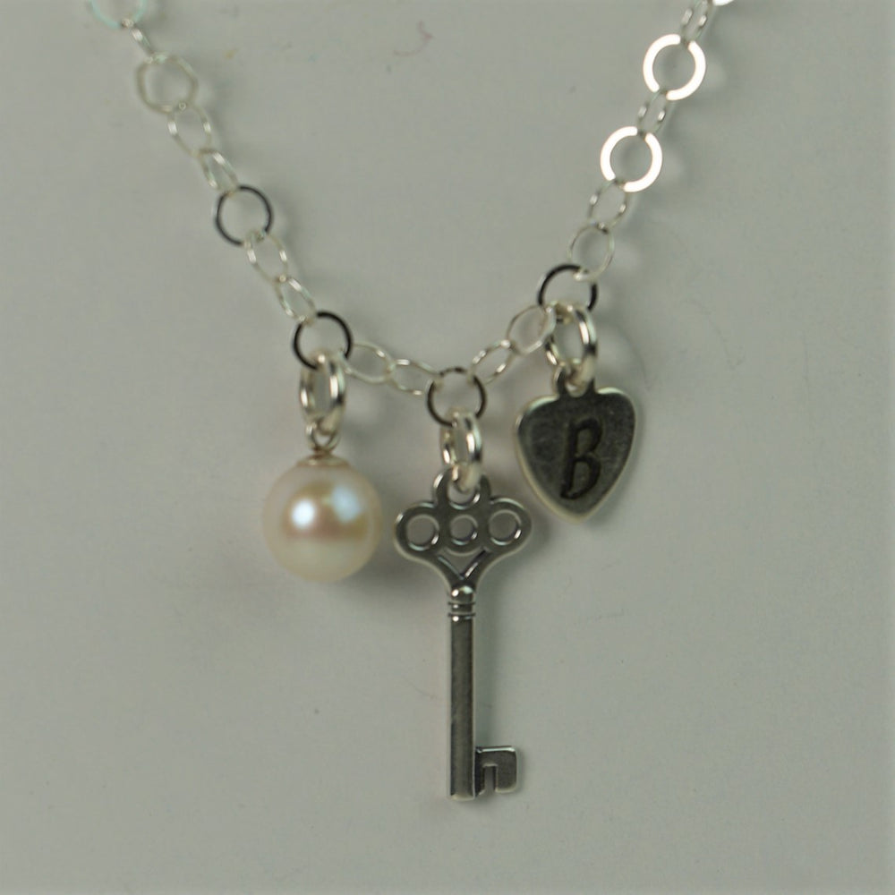 Key Charm, Engraved Heart Charm, Pearl Necklace, Key Necklace