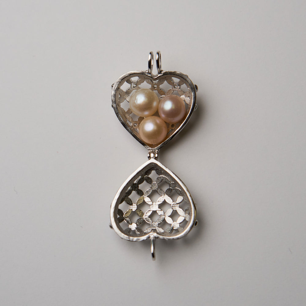 3 Pearl Heart Cage Necklace