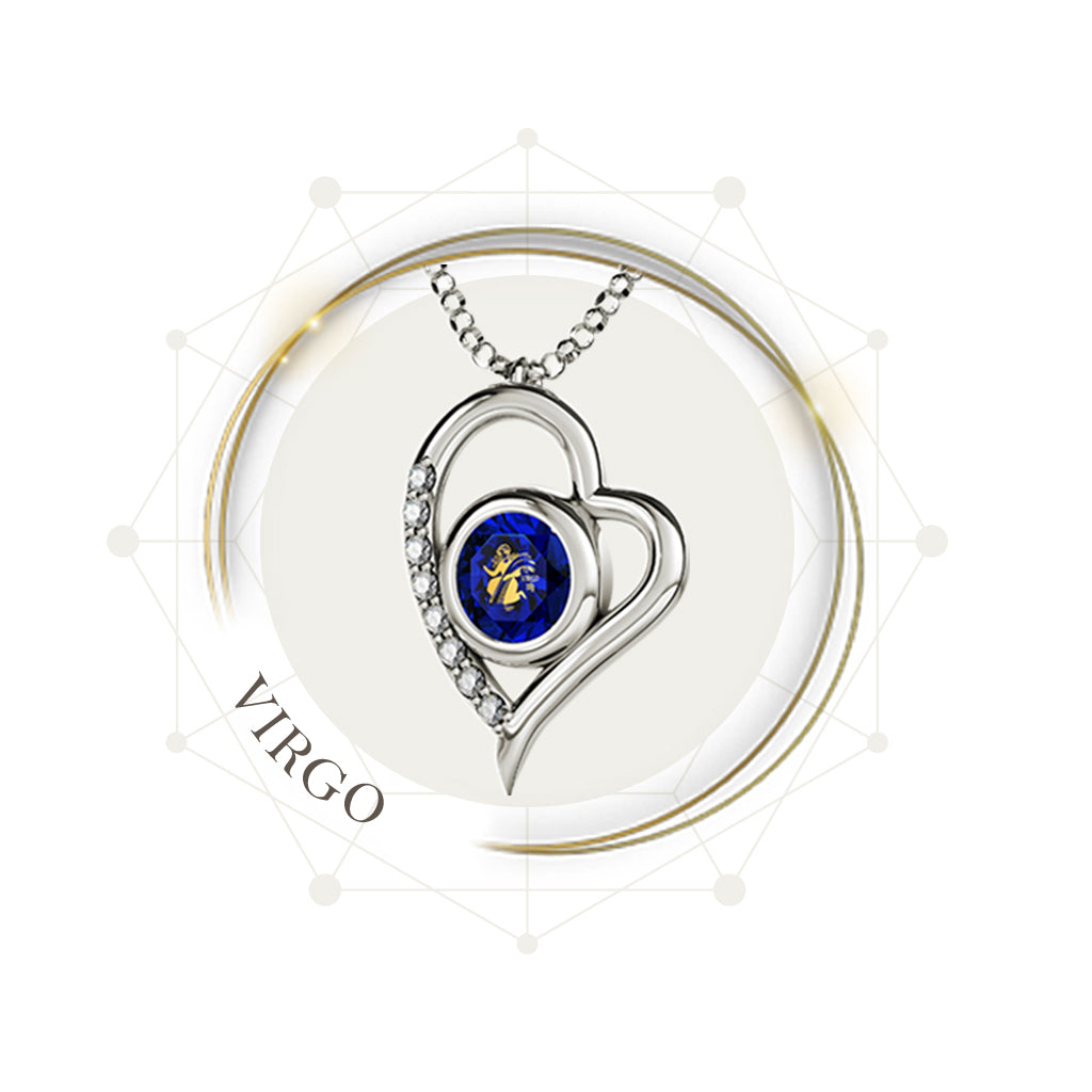 Silver Heart Necklace inscribed with 24k Gold Zodiac Virgo Necklace