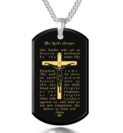 Men's Crucifix Necklace Lord's Prayer Dog Tag Pendant Gold Inscribed