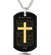 Men's Cross Necklace Lord's Prayer Dog Tag Pendant 24k Gold Inscribed
