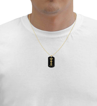 Men's Messianic Seal Necklace Symbolic Dog Tag Pendant Gold Inscribed