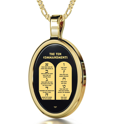 10 Commandments Necklace Hebrew Pendant 24k Gold Inscribed on Onyx - NanoStyle Jewelry