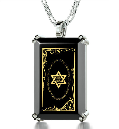 Men's Star of David Necklace Shema Israel Pendant 24k Gold Inscribed on Onyx