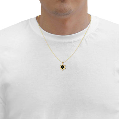 Men's Star of David Necklace 24k Gold Inscribed Shir Lama'a lot Pendant on Onyx - NanoStyle Jewelry