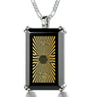 Men's Star of David Necklace with Shema Israel 72 Names 24k Gold Inscribed on Onyx
