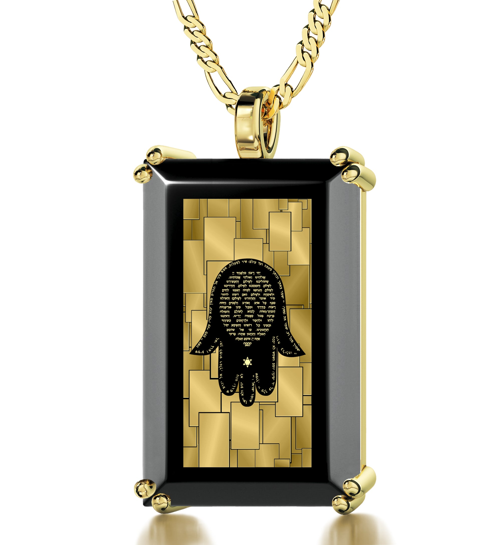 Men's Hamsa Necklace Pendant with Travelers Prayer 24k Gold Inscribed on Onyx - NanoStyle Jewelry