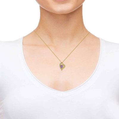 Gold Plated Ana Bekoach Necklace Kabbalah Heart Pendant 24k Gold Inscribed