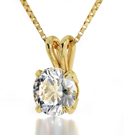 14k Yellow Gold Kabballah Necklace 72 Names Solitaire Pendant 24k Gold Inscribed - NanoStyle Jewelry