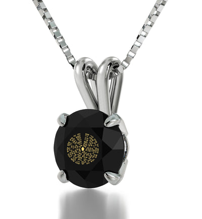 925 Sterling Silver Kabballah Necklace 72 Names Solitaire Pendant 24k Gold Inscribed - NanoStyle Jewelry