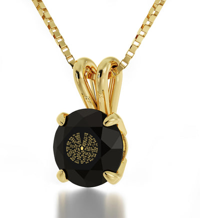 Gold Plated Kabballah Necklace 72 Names Solitaire Pendant 24k Gold Inscribed - NanoStyle Jewelry