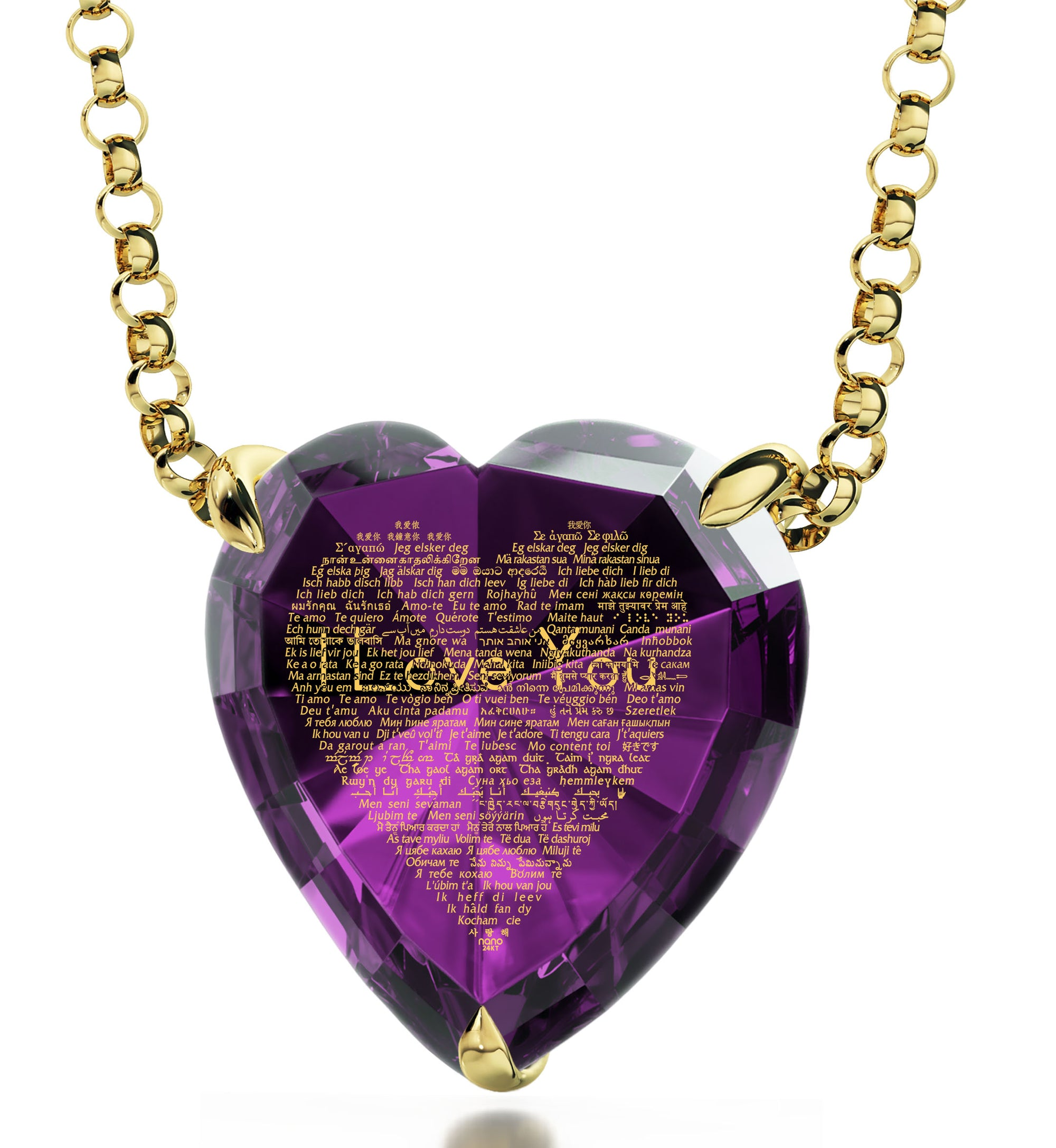 first series necklace love goldios silver heart purple gavier