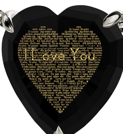 925 Sterling Silver Heart Necklace 24k Gold Inscribed I Love You in 120 Languages - NanoStyle Jewelry