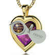 Gold Plated Heart Pendant I Love You Necklace 120 Languages 24k Gold Inscribed - NanoStyle Jewelry