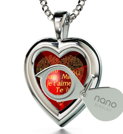 925 Sterling Silver Heart Pendant I Love You Necklace 120 Languages 24k Gold Inscribed - NanoStyle Jewelry