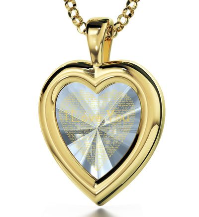Gold Plated Heart Pendant I Love You Necklace 120 Languages 24k Gold Inscribed