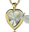 Gold Plated Silver Heart Pendant I Love You Necklace 120 Languages 24k Gold Inscribed