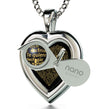 925 Sterling Silver Heart Pendant I Love You Necklace 120 Languages 24k Gold Inscribed