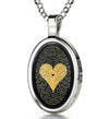 I Love You Necklace Onyx Pendant 24k Gold Inscribed in 120 Languages