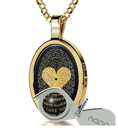 I Love You Necklace Onyx Pendant 24k Gold Inscribed in 120 Languages - NanoStyle Jewelry