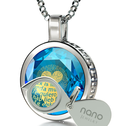 925 Sterling Silver  I Love You Necklace 24k Gold Inscribed 120 Languages - NanoStyle Jewelry