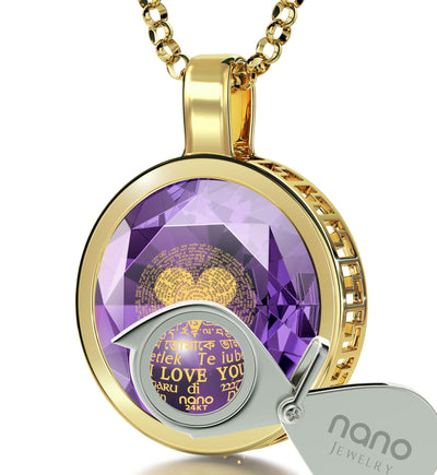 Gold Plated I Love You Necklace 24k Gold Inscribed 120 Languages - NanoStyle Jewelry