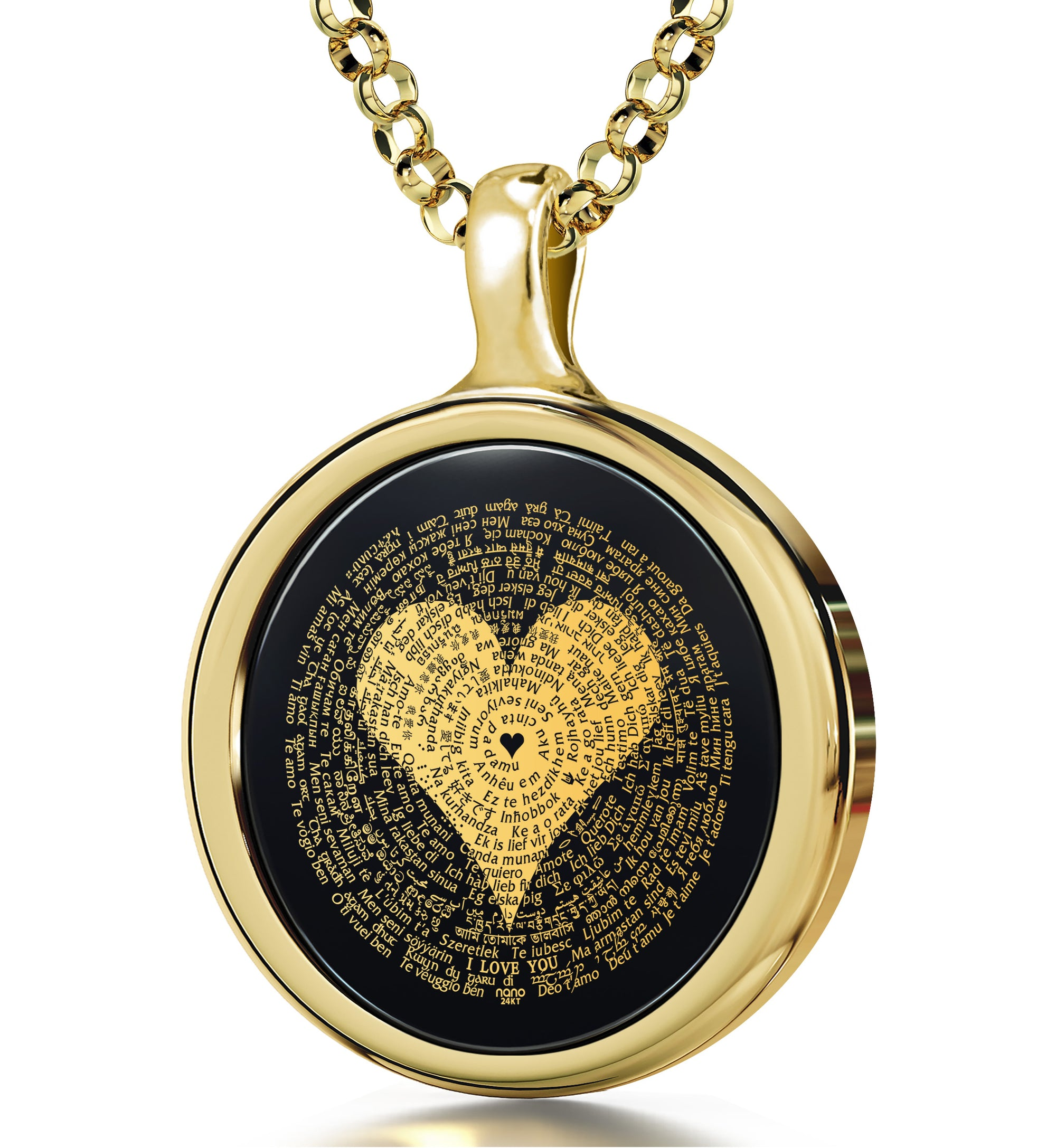 I Love You Necklace in 120 Languages 24k Gold Inscribed on Round Onyx - NanoStyle Jewelry