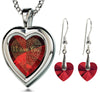 925 Silver Heart Jewelry Set I Love You Necklace in 120 Languages and Crystal Earrings