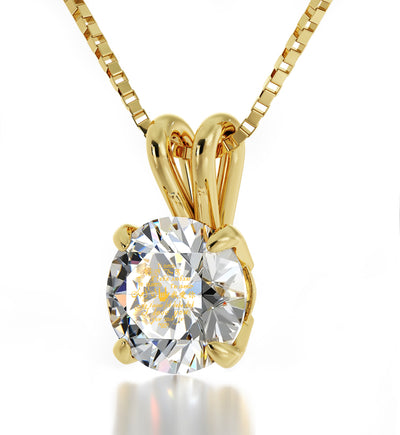 14k Yellow Gold I Love You Necklace Solitaire Pendant 12 Languages 24k Gold Inscribed