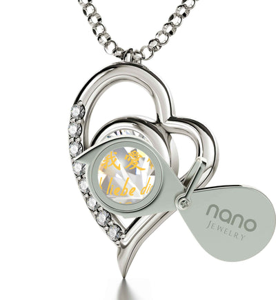 925 Sterling Silver I Love You Heart Pendant Necklace Set 24k Gold Inscribed in 12 Languages