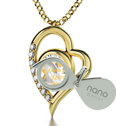 Gold Plated Silver I Love You Heart Necklace Set 24k Gold Inscribed in 12 Languages
