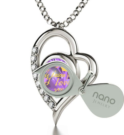 925 Sterling Silver I Love You Necklace Heart Pendant 12 Languages 24k Gold Inscribed