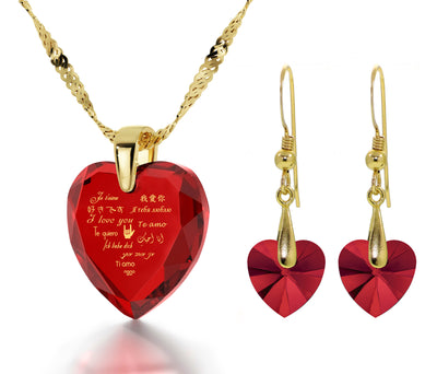 Gold Plated I Love You Necklace 12 Languages Gold Inscribed and Crystal Earrings Heart Jewelry Set