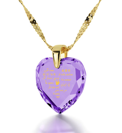 Gold Plated Heart Necklace I Love You in 12 Languages 24k Gold Inscribed Cubic Zirconia - NanoStyle Jewelry