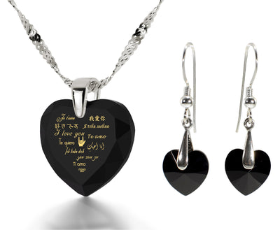 925 Silver I Love You Necklace 12 Languages Gold Inscribed and Crystal Earrings Heart Jewelry Set - NanoStyle Jewelry