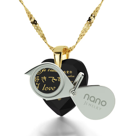 Gold Plated I Love You Necklace 12 Languages Gold Inscribed and Crystal Earrings Heart Jewelry Set - NanoStyle Jewelry