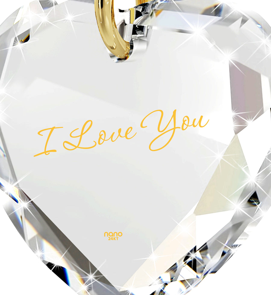 Tiny Crystal Heart Pendant I Love You Necklace 24k Gold Inscribed