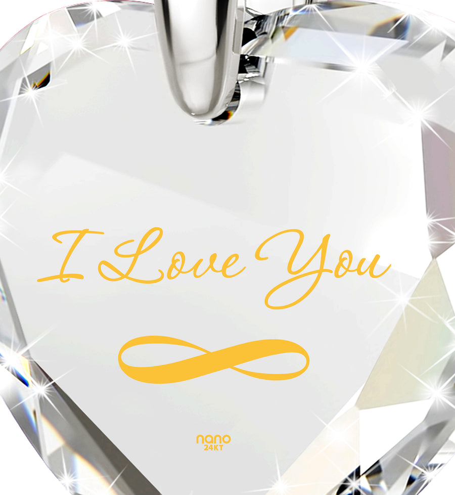 Silver Infinity I Love You Necklace Heart Pendant 24k Gold Inscribed Cubic Zirconia - NanoStyle Jewelry