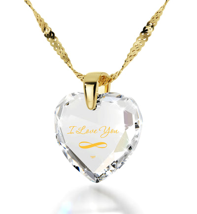 Gold Plated Infinity I Love You Necklace Heart Pendant 24k Gold Inscribed Cubic Zirconia - NanoStyle Jewelry