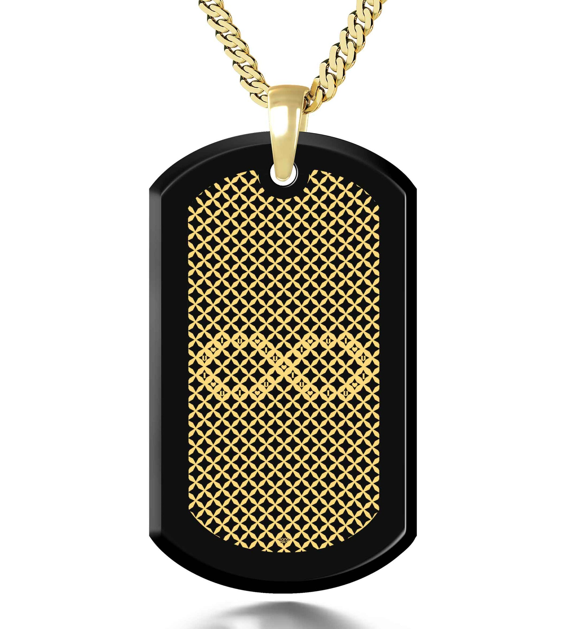 Men's Dog Tag Necklace Infinity Pendant 24k Gold Inscribed Onyx Stone