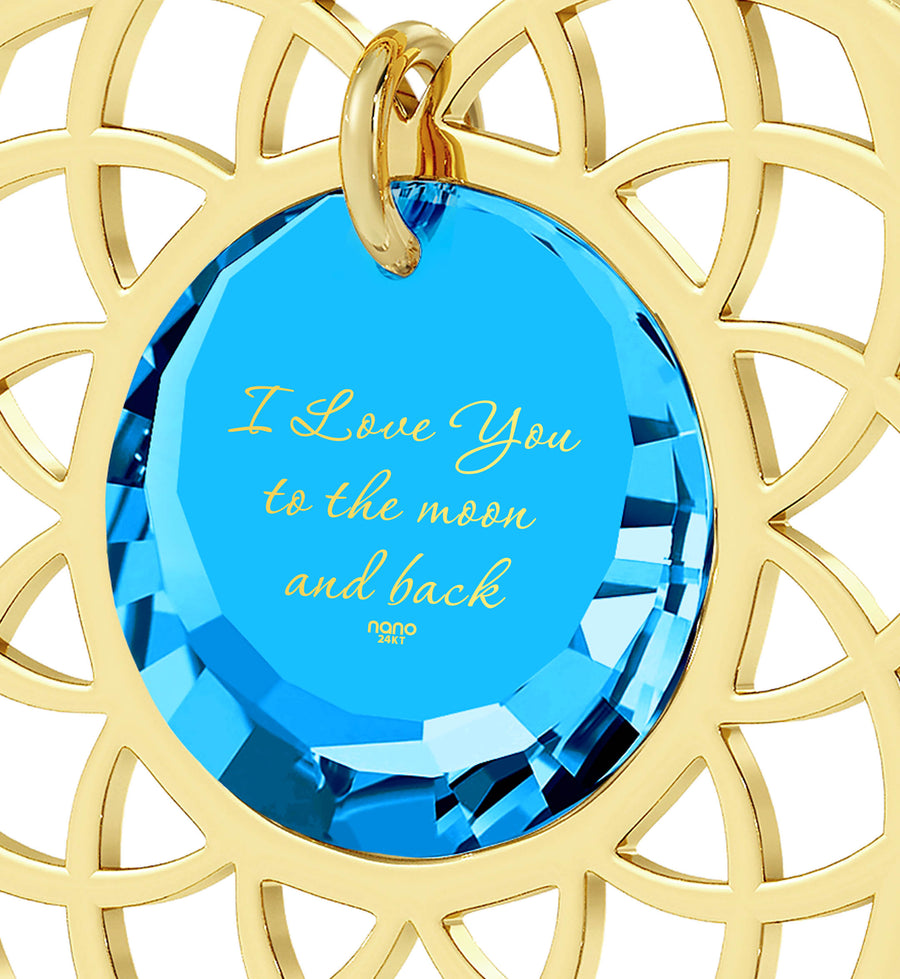 Gold Plated I Love You To The Moon and Back Necklace Mandala Pendant 24k Gold Inscribed