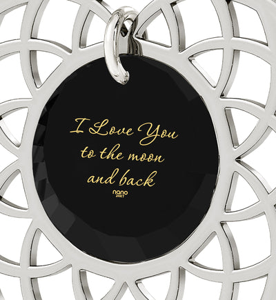 Silver Plated I Love You To The Moon and Back Necklace Mandala Pendant 24k Gold Inscribed - NanoStyle Jewelry