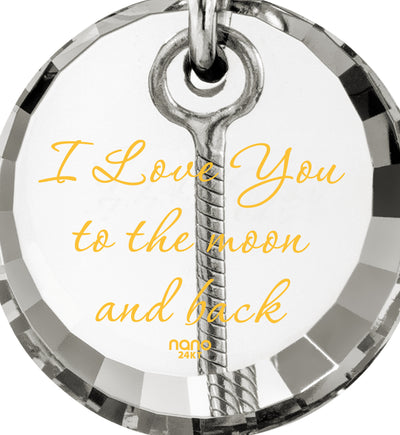 nanostyle i love you to the moon and back crystal necklace crescent Moon climber pendant valentine stone view