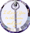 nanostyle i love you to the moon and back light purple necklace crescent Moon climber pendant stone view