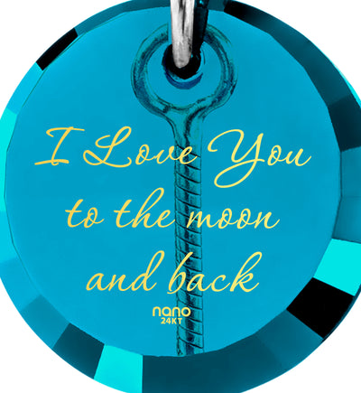 nanostyle i love you to the moon and back blue turquoise necklace crescent Moon climber pendant stone view