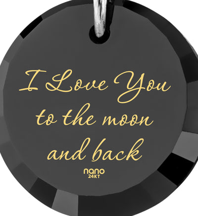 nanostyle i love you to the moon and back black necklace crescent Moon climber pendant stone view