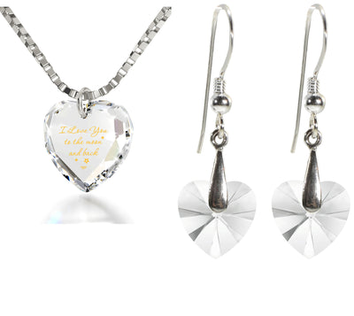 Tiny Heart Jewelry Set 24k Gold Inscribed I Love You to the Moon and Back Necklace and Drop Earrings - NanoStyle Jewelry