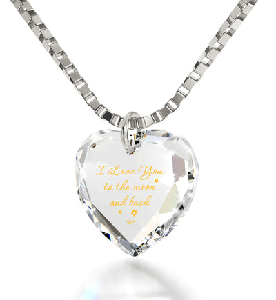 Tiny Crystal Heart pendant 24k Gold Inscribed I Love You to the Moon and Back Necklace - NanoStyle Jewelry