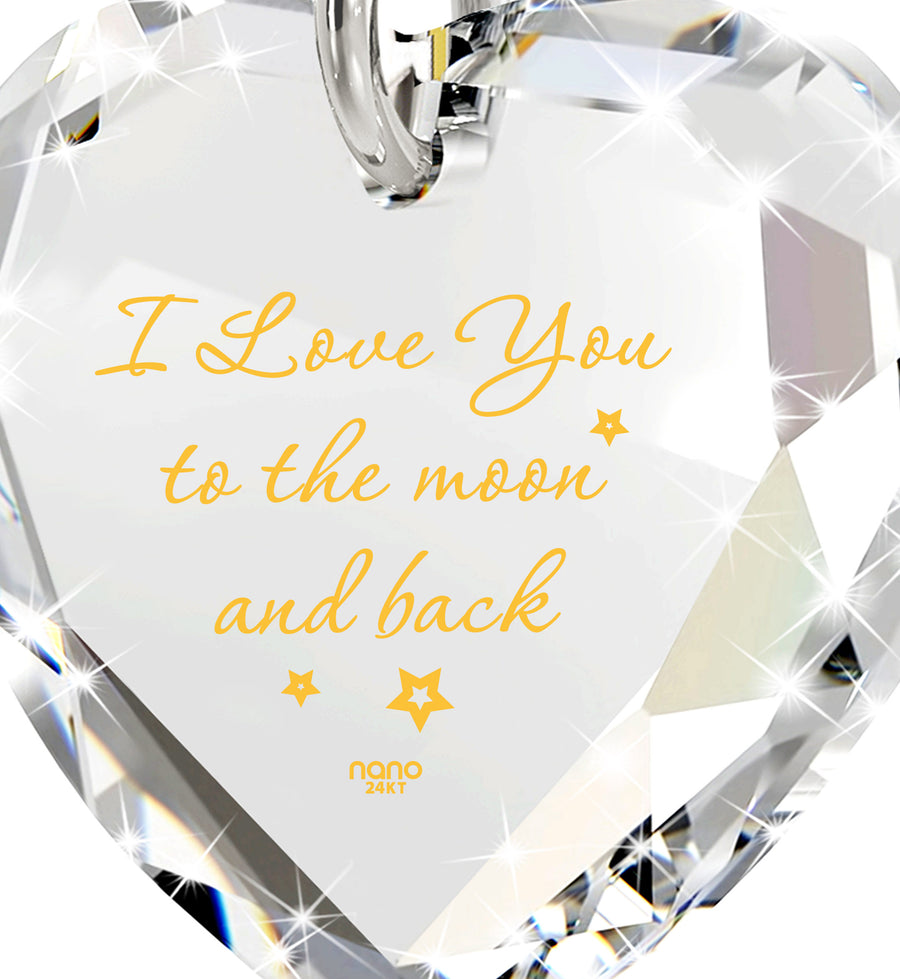 Tiny Crystal Heart pendant 24k Gold Inscribed I Love You to the Moon and Back Necklace
